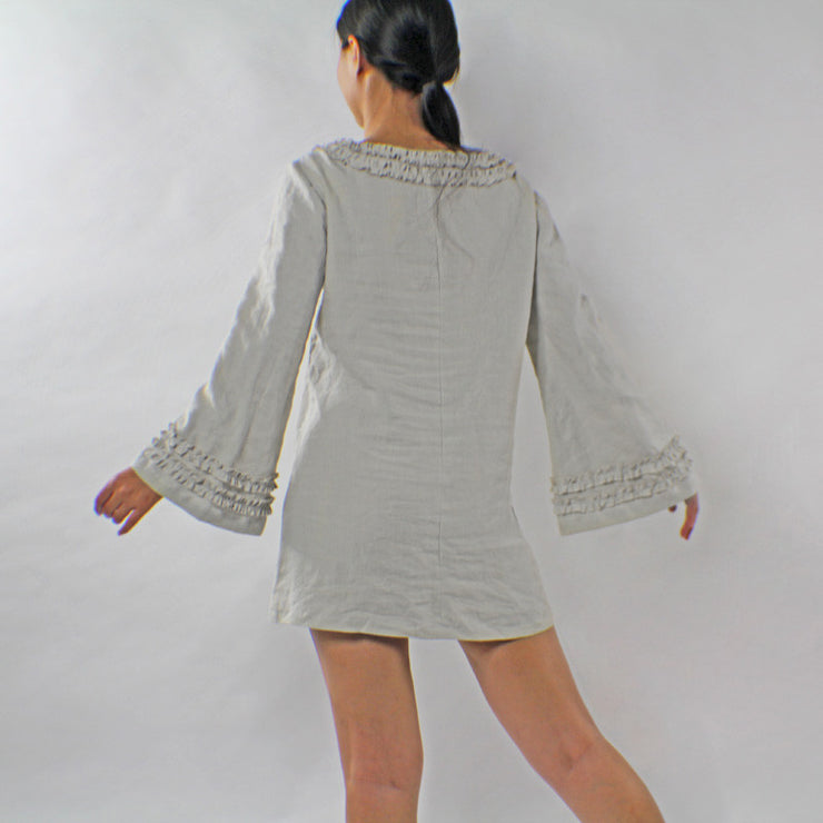 Ruffled Long Sleeves Washed Linen Night Dress