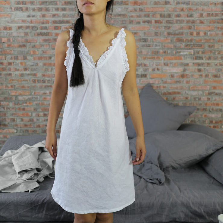 Short Ruffled Natural Linen Night Dress