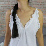 """Judy"" Natural Linen Ruffled Nighty"