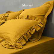 Ruffles Shams Soft Washed Linen (set of 2) Mustard