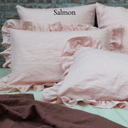 Ruffles Shams Soft Washed Linen (set of 2) Salmon