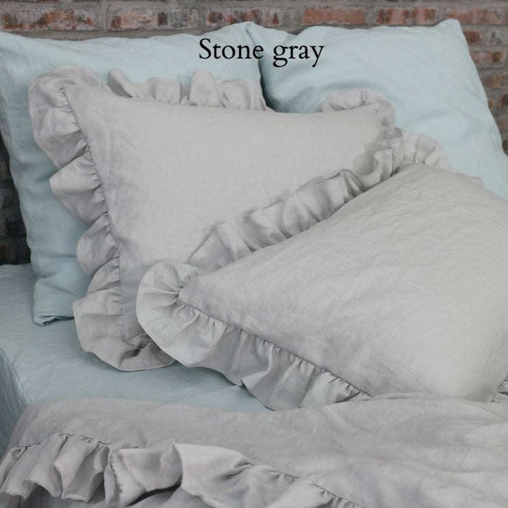 Ruffles Shams Soft Washed Linen (set of 2) Stone Gray