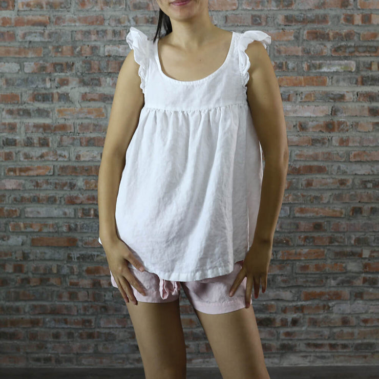 Sleeveless Baby Doll Linen Top