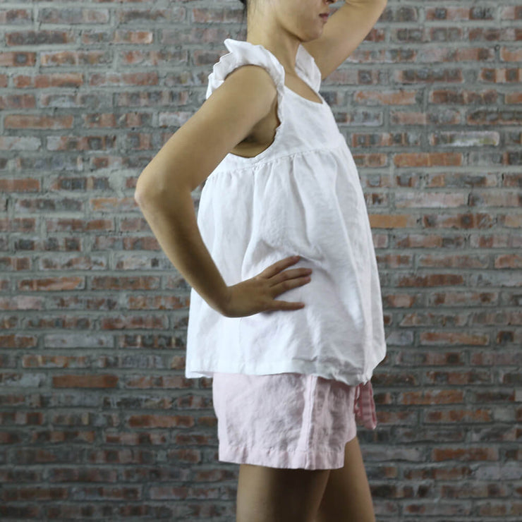 Ruffled Baby Doll Linen Top