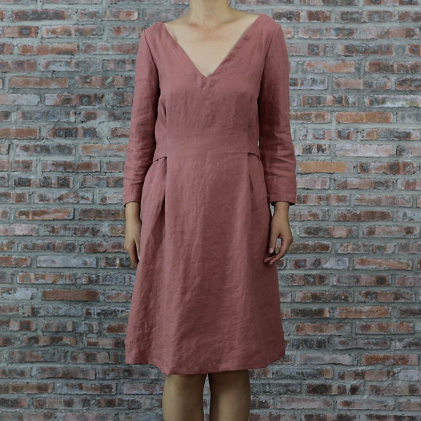 2/3 Sleeves Linen Vintage Style Dress - Linenshed