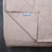 Close up Linen Quilted Bedspread Salmon