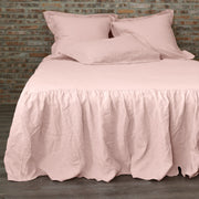 Gathered ruffled Linen Bedcover Salmon