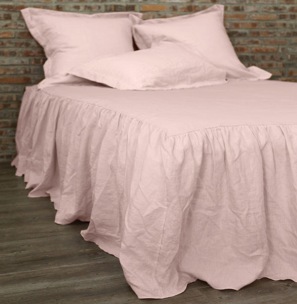 Gathered ruffled Linen Coverlet Salmon