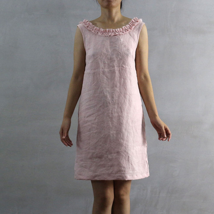 Salmon Frayed Ruffle Collar Dress 01 - Linenshed