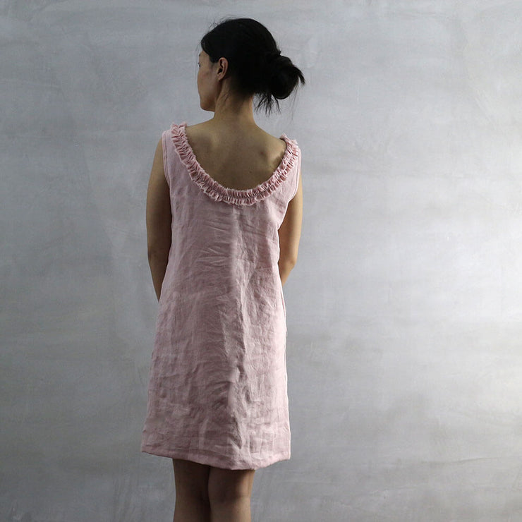 Salmon Frayed Ruffle Collar Dress 03 - Linenshed