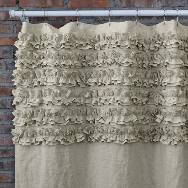 Merveilleux ... Shabby Chic Ruffle Washed Linen Shower Curtain ...