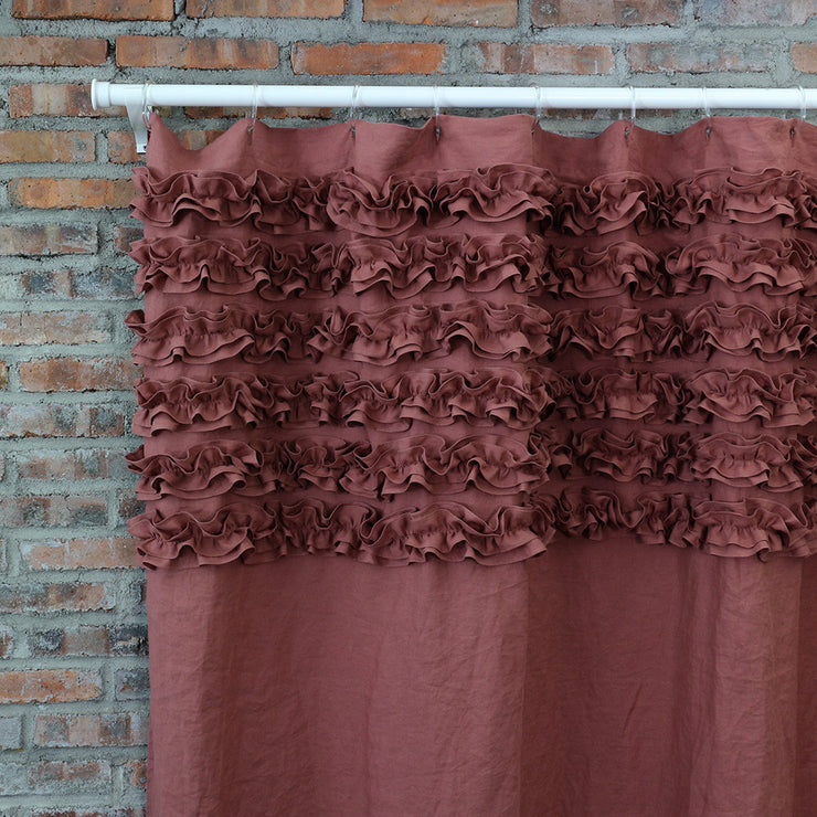 Closeup Shabby Chic Linen Shower Curtain Brick