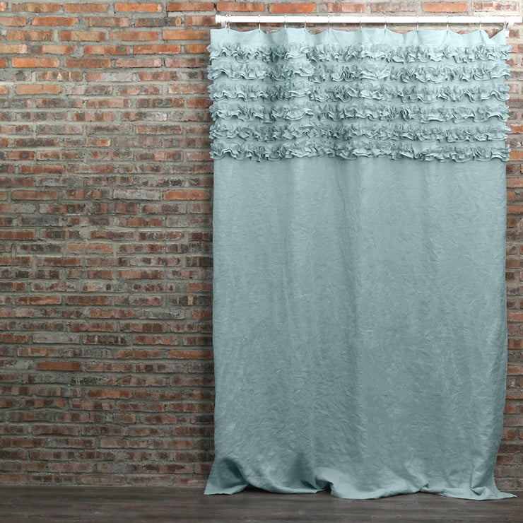 Ruffled Washed Linen Bath Curtains Icy Blue