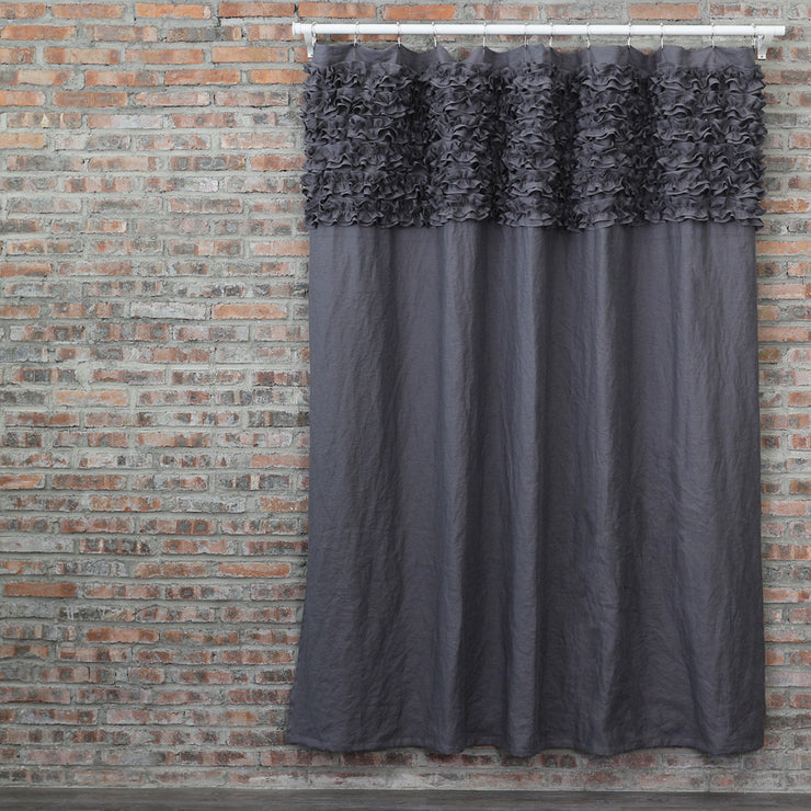 Ruffled Washed Linen Bath Curtains Lead Gray