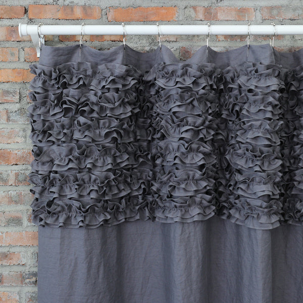 ... Shabby Chic Ruffle Washed Linen Shower Curtain Lead Gray ...