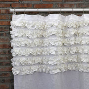 Shabby Chic Ruffle Washed Linen Shower Curtain Optic White