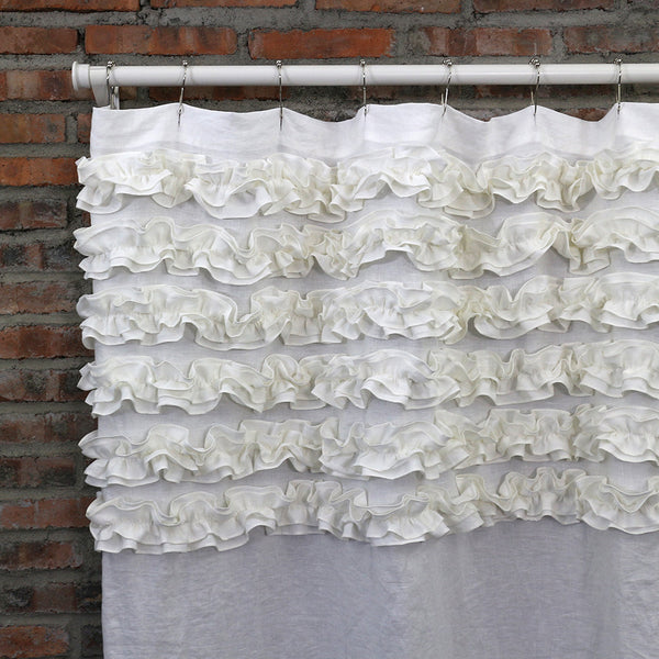 linen shower curtain white.  Shabby Chic Ruffle Washed Linen Shower Curtain Optic White Curtains Bath linenshed LINENSHED