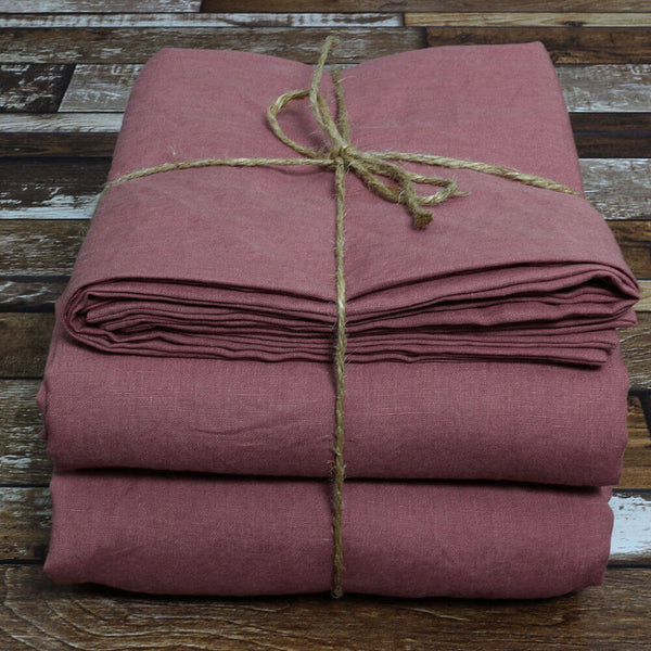 100 % Linen Sheets Set Brick - Linenshed