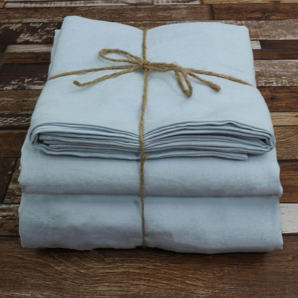 100 % Linen Sheets Set Icy Blue - Linenshed
