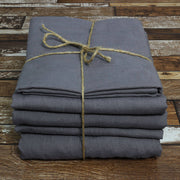 100 % Linen Sheets Set Lead Gray - Linenshed