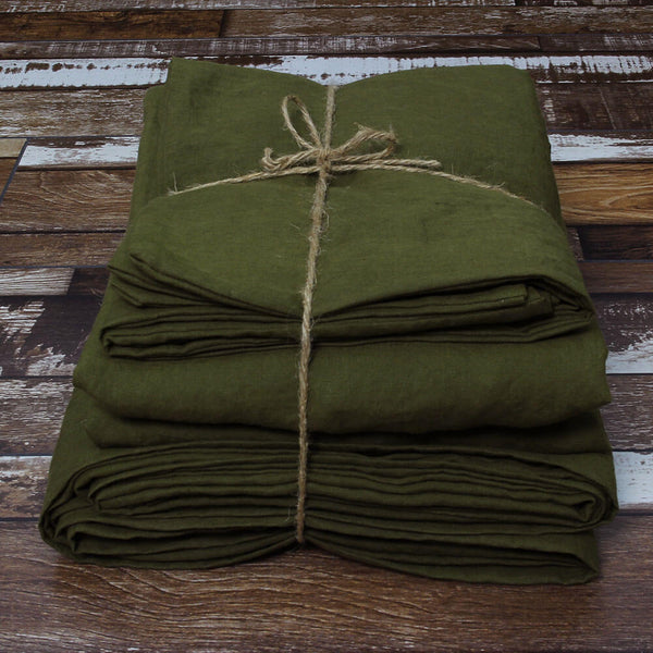 100 % Linen Sheets Set in Green Olive - Linenshed