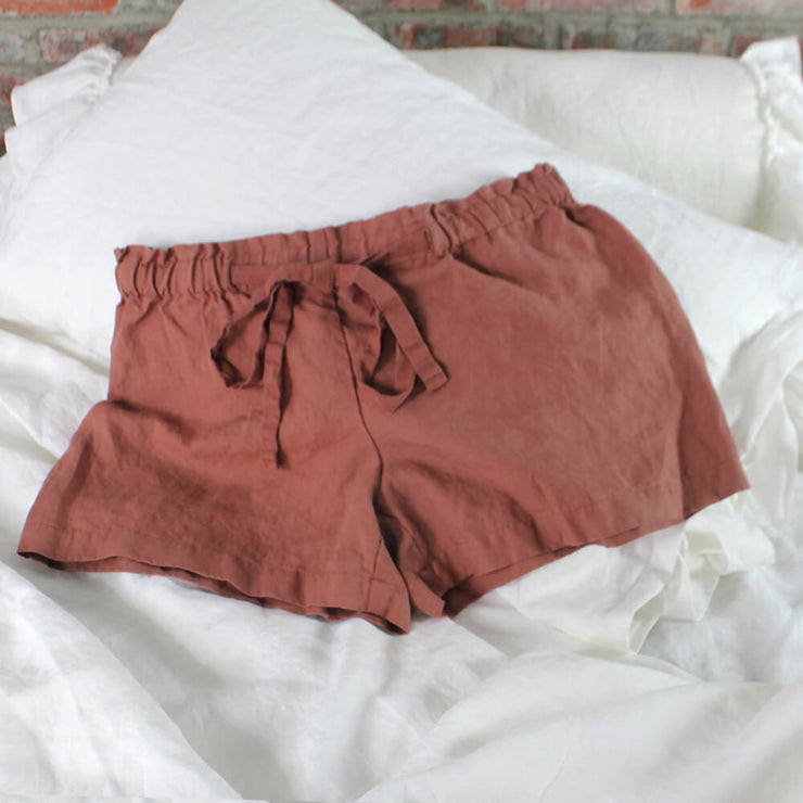 Soft Washed Linen Shorts  Brick