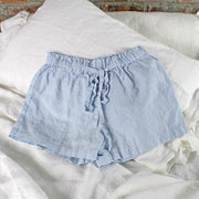 Soft Washed Linen Shorts Icy Blue