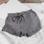 Soft Washed Linen Shorts Lead Gray