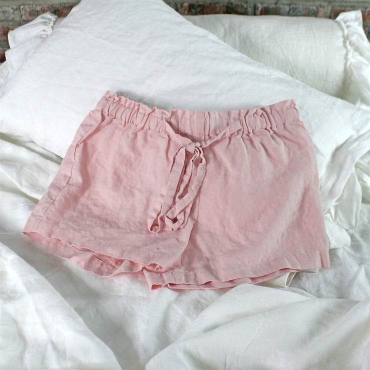 Soft Washed Linen Shorts Salmon