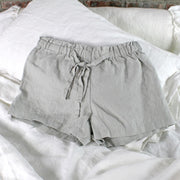 Soft Washed Linen Shorts Stone Gray