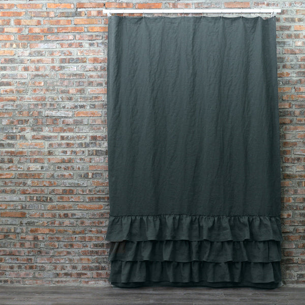 Ruffled Shower Linen Curtain In Black Olive