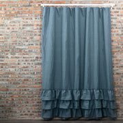 Ruffled Shower Curtain in French Blue