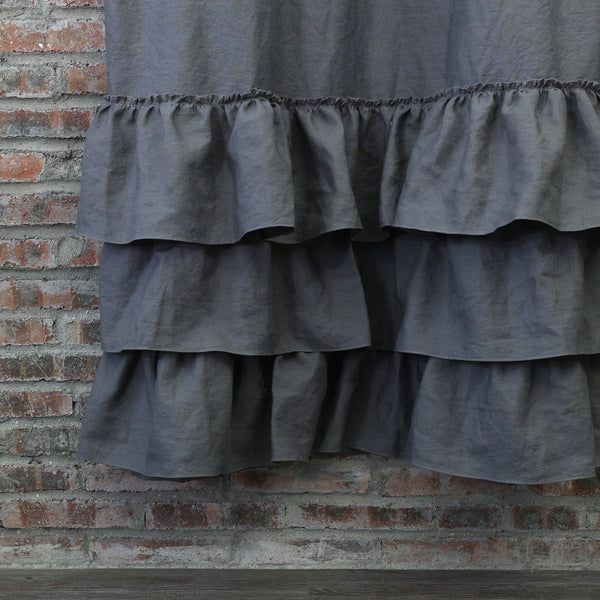 Attractive ... Closeup Ruffled Shower Curtain In Lead Gray ...