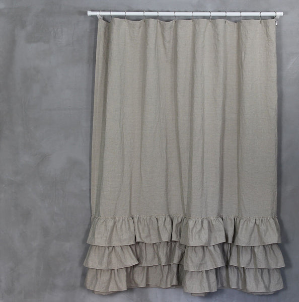 Washed Layered Ruffles Linen Shower Curtain Fabric