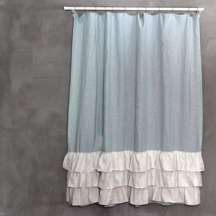 Two Tones Ruffles Linen Shower Curtain Icy Blue Ivory