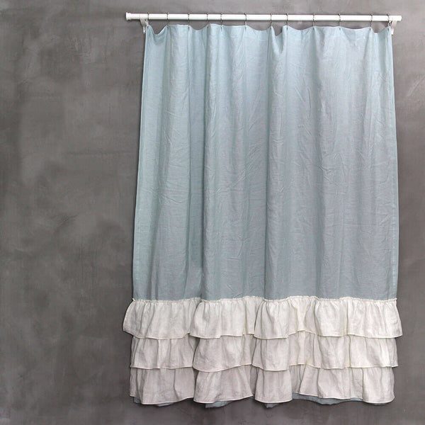Two Tones Linen Ruffles Shower Curtain