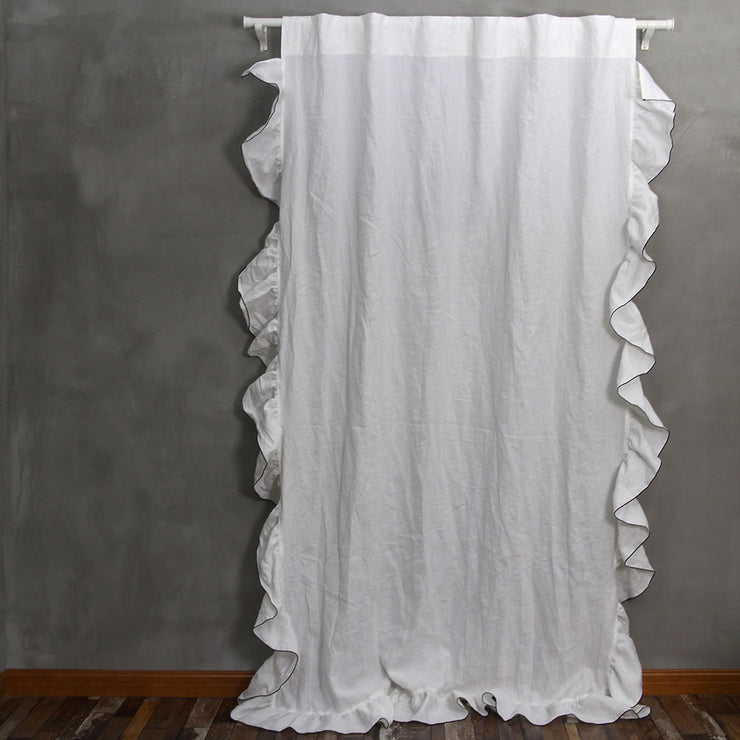 Side Ruffles Linen Window Curtain with Bourdon Edge