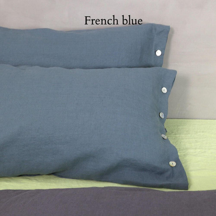 Side Buttoned Pillowcases set French Blue