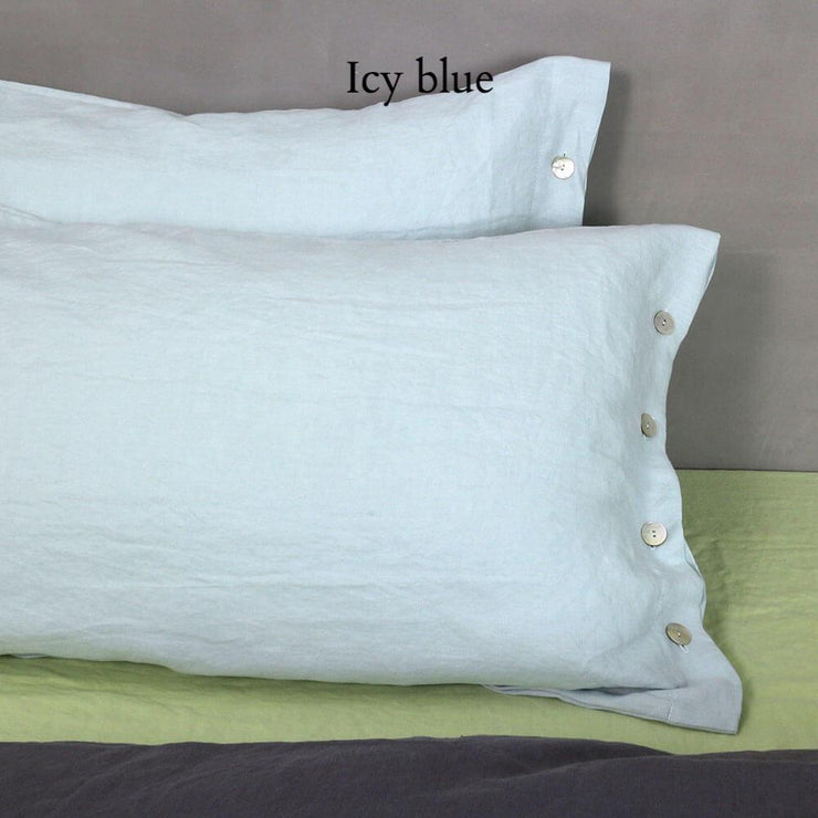 Side Buttoned Pillowcases set Icy Blue