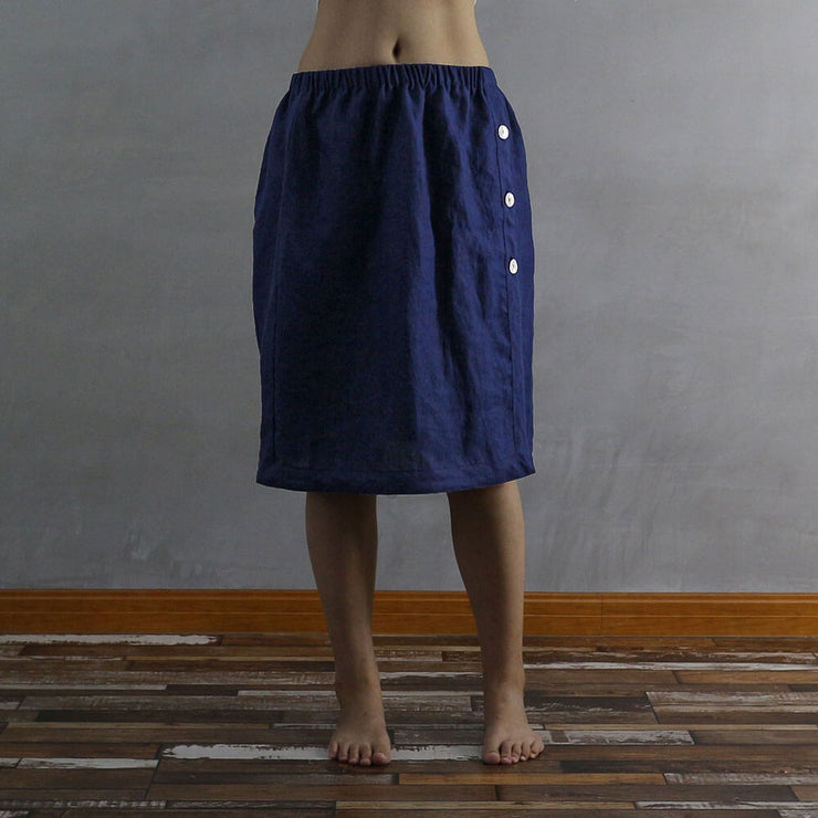 Side Buttoned Skirt 01 - Linenshed