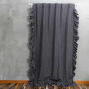 Side Ruffles Linen Window Curtain with Hand Frayed Edge