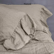 Side Ruffle Pillowcases with frayed seam Natural