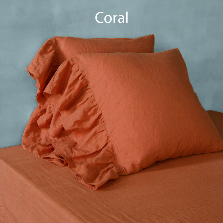 Side Ruffled Romantic Pillowcases Coral- Linenshed