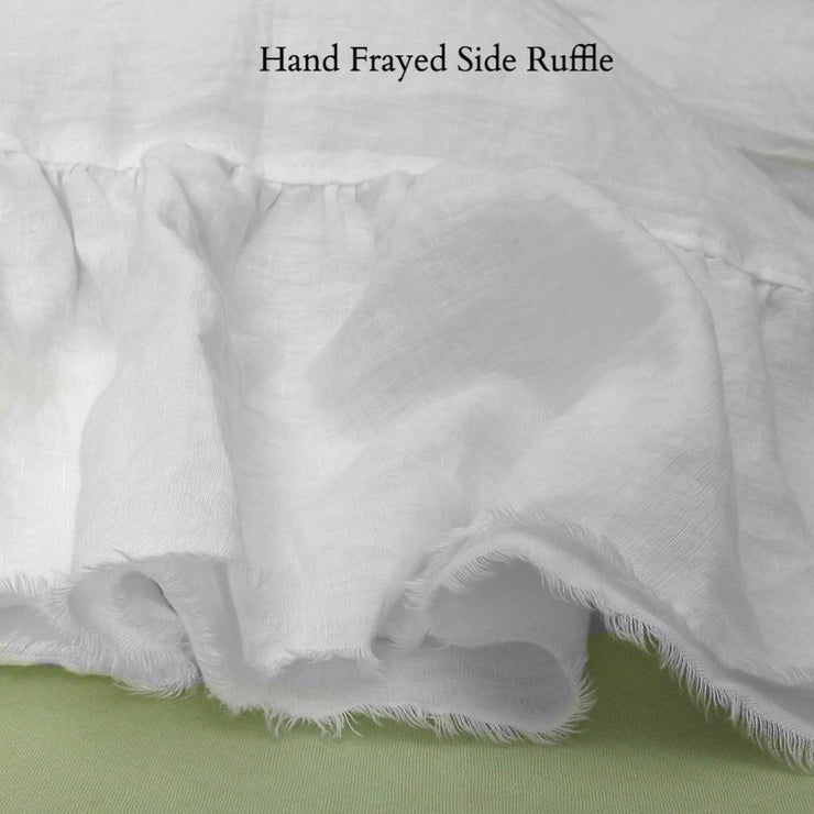 Side Ruffle Pillowcases with frayed seam
