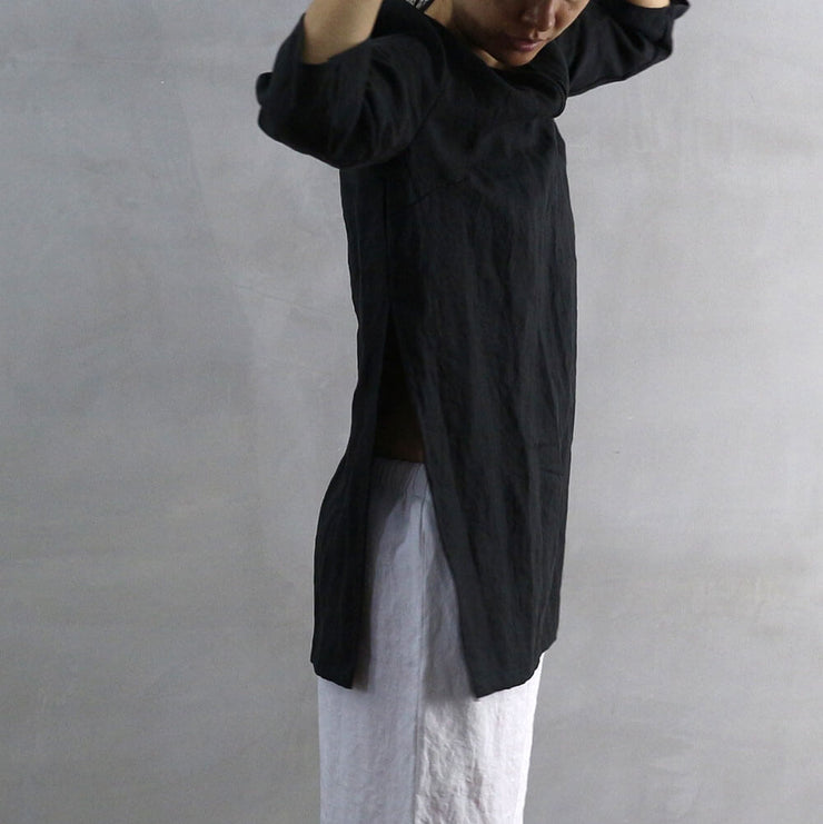 Side Slit Short Tunic 03 - Linenshed