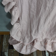 Side Ruffles Linen Window Curtain with Turn Seam Edge Closeup