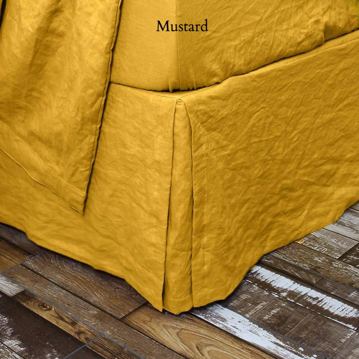 Split-Corner Linen Bedskirt Curry