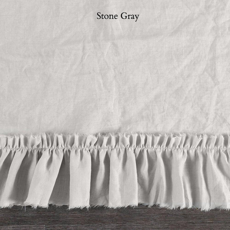 Duvet Cover with Frayed Ruffles Stone Gray