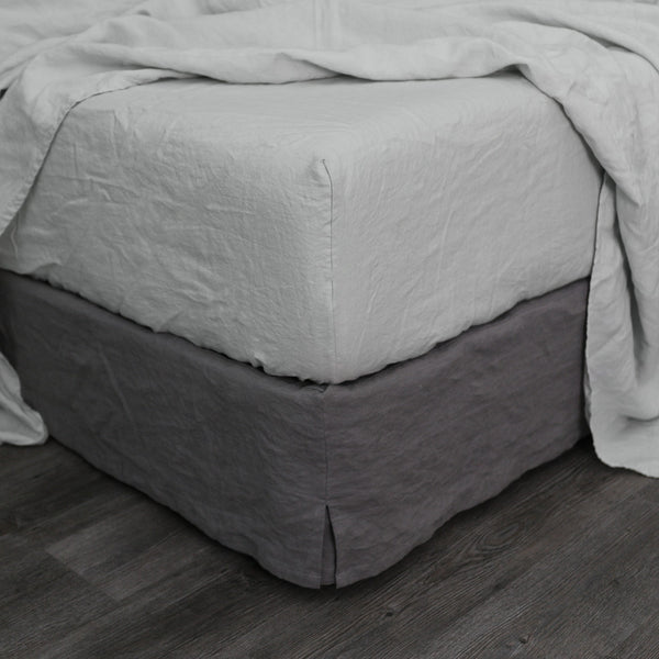 Washed Bed Linen Fitted Sheet Stone Grey