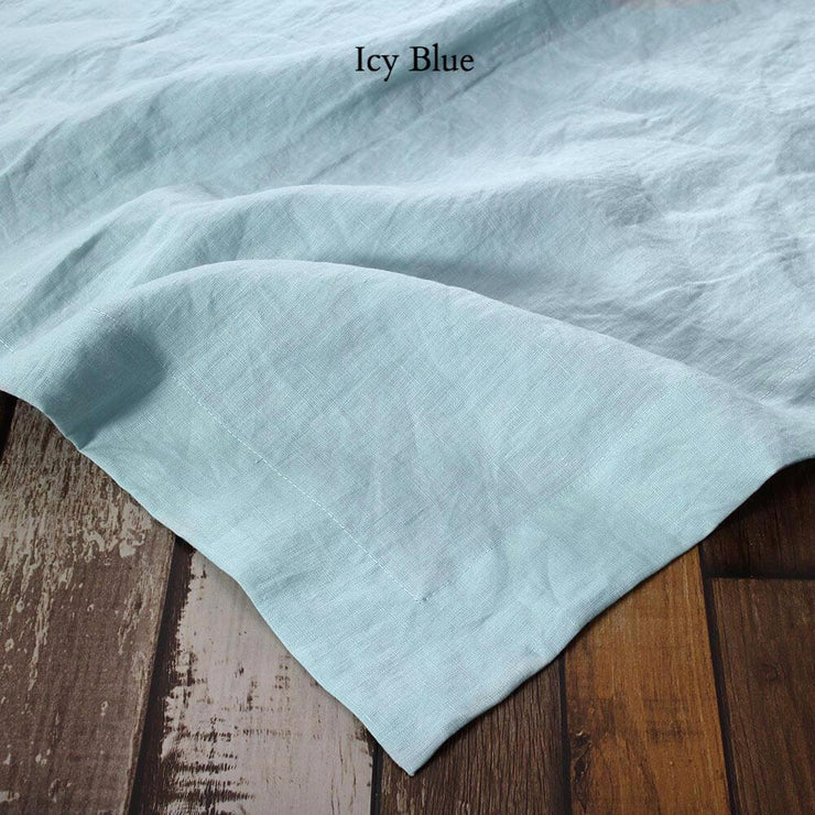 Mitered border Linen Table Runner Icy Blue